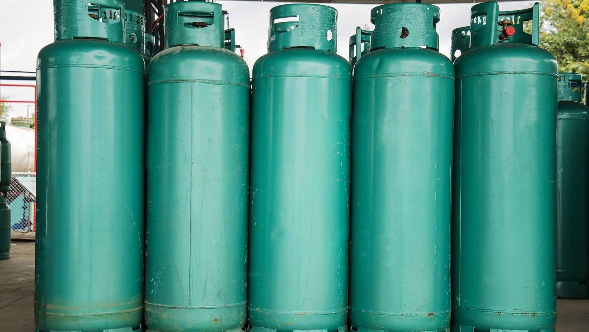 lpg gas bottle stack ready sell